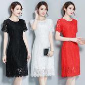 短袖蕾絲連身裙新款女裝修身顯瘦中長款洋裝大碼打底A字裙 EY4269 『優童屋』
