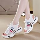 2021涼鞋夏季新款女鞋厚底平跟運動鞋鬆糕底透氣網面舒適鏤空中跟 快速出貨