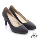 A.S.O 個性美型 全真皮水鑽奈米高跟鞋 茶