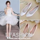 2018春新娘單鞋女紅白米色大碼平跟尖頭孕婦婚紗禮服伴娘平底婚鞋·Ifashion