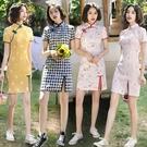 四面彈單層短款日常旗袍改良新款少女款文藝格子修身台灣風小短裙 快速出貨
