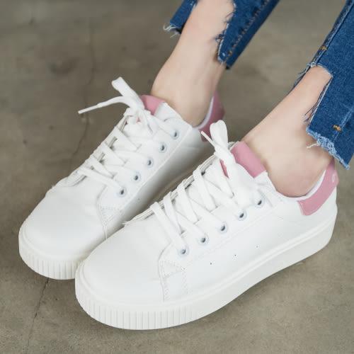 休閒鞋.百搭潮流繫帶小白鞋.白鳥麗子