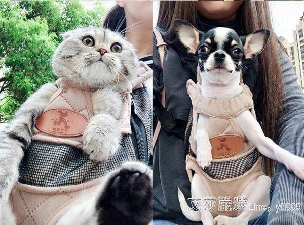 狗狗背包寵物外出便攜雙肩包出行貓咪袋泰迪背帶狗包包貓包胸前包 艾莎嚴選YYJ