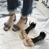 春夏季高跟涼鞋女千鳥格優雅粗跟方跟一字扣露趾羅馬女鞋   歌莉婭
