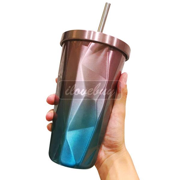 真空保溫菱形杯 304不鏽鋼 密封防漏 方便攜帶 冰霸杯 附贈不鏽鋼吸管 不鏽鋼杯蓋