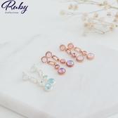 耳環 韓國直送‧蛋白石水鑽鎖鏈耳環-Ruby s 露比午茶