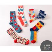 日系創意圖案中筒襪 ❤️ 短襪 絲襪隱形襪五指襪 運動復古 文青情侶 韓國代購 阿華有事嗎