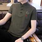 棉麻T恤~亞麻短袖t恤男士夏季中國風半袖上衣服青年韓版復古棉麻體恤衫男