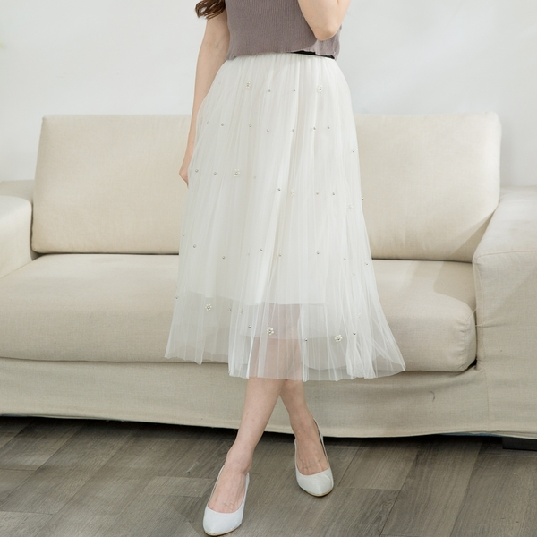 氣質女神飄逸釘珠百褶紗裙(米白)