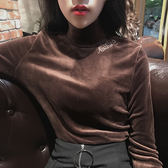 韓國復古chic秋冬時尚百搭字母刺繡打底衫修身純色高領長袖T恤女