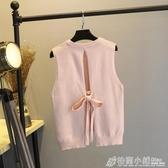 秋季新款韓版套頭針織衫短款無袖背心毛衣外穿馬甲上衣女chic 格蘭小鋪