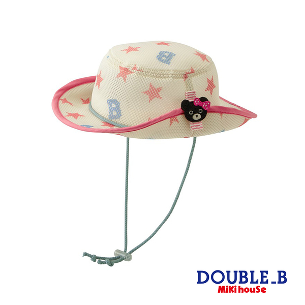 DOUBLE_B 黑熊妹星星抗UV遮陽帽(粉)