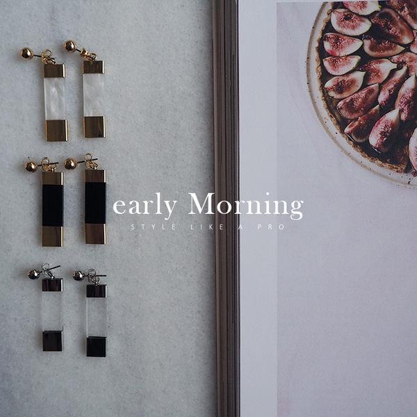early Morning - 簡約 壓克力 幾何 垂墜耳環 日系【VL018】