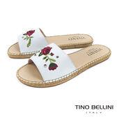 Tino Bellini 西班牙進口電繡玫瑰麻編平底涼拖鞋 _ 白 B83212 歐洲進口款