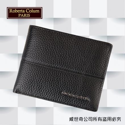 【Roberta Colum】諾貝達 男用專櫃皮夾 進口軟牛皮短夾(25002-1黑色)【威奇包仔通】