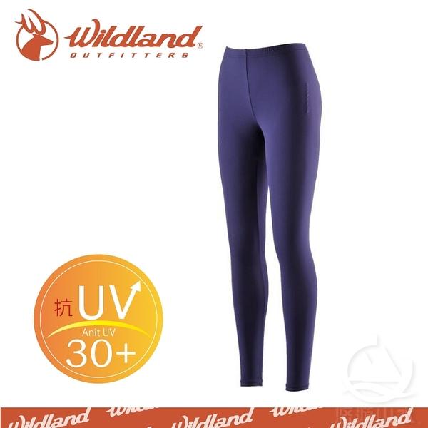 【Wildland 荒野 中性 彈性TACTEL內搭褲《藍紫》】W1698-80/快乾排汗褲/居家睡褲/運動緊身褲/內搭褲