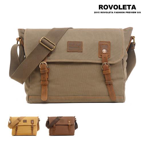 單肩帆布雙釦側背包【AG-8169】(ROVOLETA)