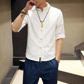 唐裝短袖 夏季棉麻唐裝男青年古風亞麻中山裝上衣改良漢服居士服