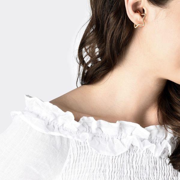 點睛品 Ear Play 18K玫瑰金星形開口式耳環