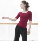 瑜珈服 方領中袖瑜珈服女成人拉丁現代古典芭蕾舞形體練功服上衣夏【原本良品】
