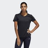 Adidas OWN THE RUN TEE 女款黑色運動短袖上衣-NO.DQ2630