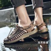涼鞋夏季新品沙灘鞋涉水涼鞋男個性正韓潮流編織羅馬男涼鞋休閒鞋38-45
