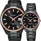 ALBA雅柏 城市情人時尚對錶-黑x玫塊金框/42+32mm VJ42-X250K+VJ22-X280K