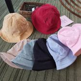 復古純色燈芯絨漁夫帽 可折疊遮陽盆帽m140