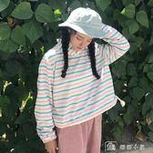 連帽T恤 新款韓版學院風寬鬆條紋bf長袖套頭薄款連帽T恤打底衫上衣女 全館單件9折