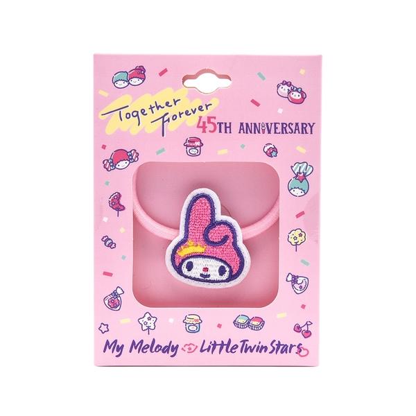 Sanrio 美樂蒂&KIKI LALA 45週年系列 刺繡髮圈 美樂蒂 粉_RD00738