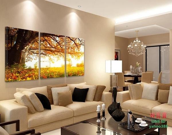 無框畫裝飾畫客廳風景畫幸福樹壁畫客廳餐廳畫三聯畫掛畫