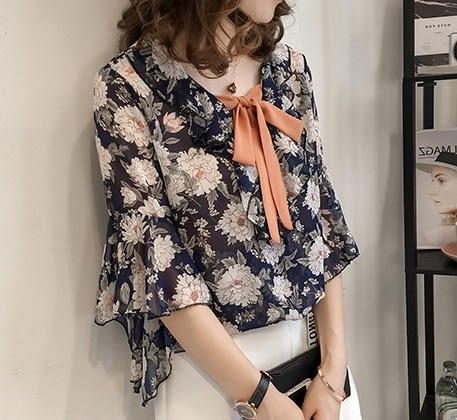 EASON SHOP(GU6193)碎花綁帶蝴蝶結短袖雪紡衫喇叭袖落肩七分袖女上衣服荷葉邊韓版寬鬆襯衫飛鼠袖
