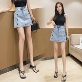 牛仔裙 藍色時尚春款愛心牛仔A字半身裙短裙帶內褲989#BMA131紅粉佳人