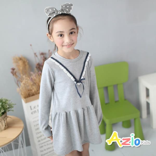 《美國派 童裝》洋裝 蝴蝶結V型蕾絲長袖洋裝(灰)