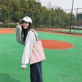 帆布包女單肩ins中包大學生上課書包韓版百搭新款手提袋  俏女孩