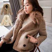 ★現貨★MIUSTAR 可拆式毛領大翻領內刷絨雙排釦外套(共2色)【NF025CEZ】