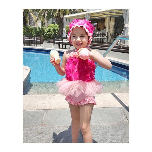 兒童泳裝 蕾絲 花瓣 蓬蓬裙 兩件套 繞頸 兒童泳裝【TF4120】 icoca  08/31