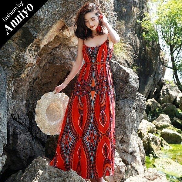Anniyo安妞‧波西米亞海邊沙灘海灘度假細肩帶寬鬆雪紡圖騰印花沙灘裙長裙長洋裝 民族風印花