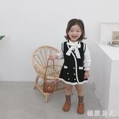 2019新款秋季洋裝裝女童小香風針織背心裙兒童寶寶雙排扣毛衣連身裙洋氣DF515【極致男人】