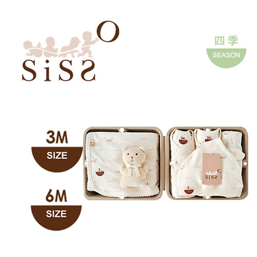 【SISSO有機棉】SISSO SISSO親愛寶寶好柔棉禮盒(咖咖熊)3M 6M