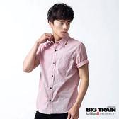 BIG TRAIN 基本款條紋短袖襯衫-男-紅白條