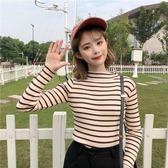 秋季女裝韓版條紋半高領套頭針織衫毛衣女學生保暖長袖打底衫上衣