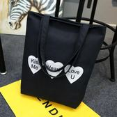 帆布手提包 文藝包女側肩背包 手提拉鏈購物袋《小師妹》f462