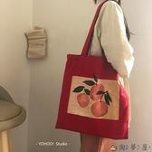 帆布收納袋韓版水果橘子插畫百搭環保袋購物袋女【淘夢屋】