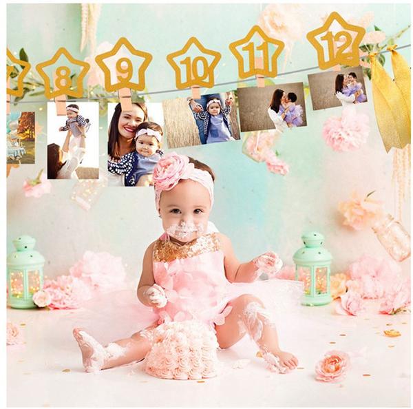 【韓風童品】周歲生日燙金拉花   金蔥紙生日照片裝飾夾   派對佈置 生日拉花裝飾 拍照背景