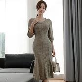 歐媛韓版 蕾絲連身裙秋裝新款l氣質洋裝 女人味顯身材修身性感包臀魚尾裙 店慶降價