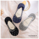 Catworld 日系條紋圓點棉質船型襪...