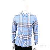 BURBERRY 格紋棉質長袖襯衫(男款/水藍色) 1730187-27