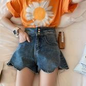 【戚米】夏季洋氣百搭高腰牛仔短褲女顯瘦闊腿chic熱褲韓版ins潮