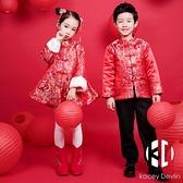 兒童唐裝過年套裝冬新年衣服中國風格格服拜年服寶寶旗袍【Kacey Devlin】